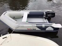 2.7 honwave rib boat with 6hp mercury outboard as new comes with lots of extras