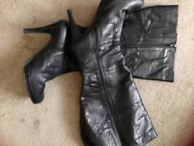 Real leather high black boots