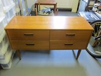 4 Drawer Sideboard/Dressing Table with Mirror Wood Retro Vintage