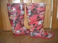 WELLINGTON BOOTS WELLIES LADIES GIRLS SIZE 4 FLORAL PINK