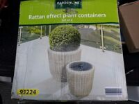 Rattan effect plant containers set of 2