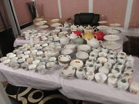Huge collection joblot mismatch cups saucers plates teapots cakestands for wedding/teaparty/tearoom