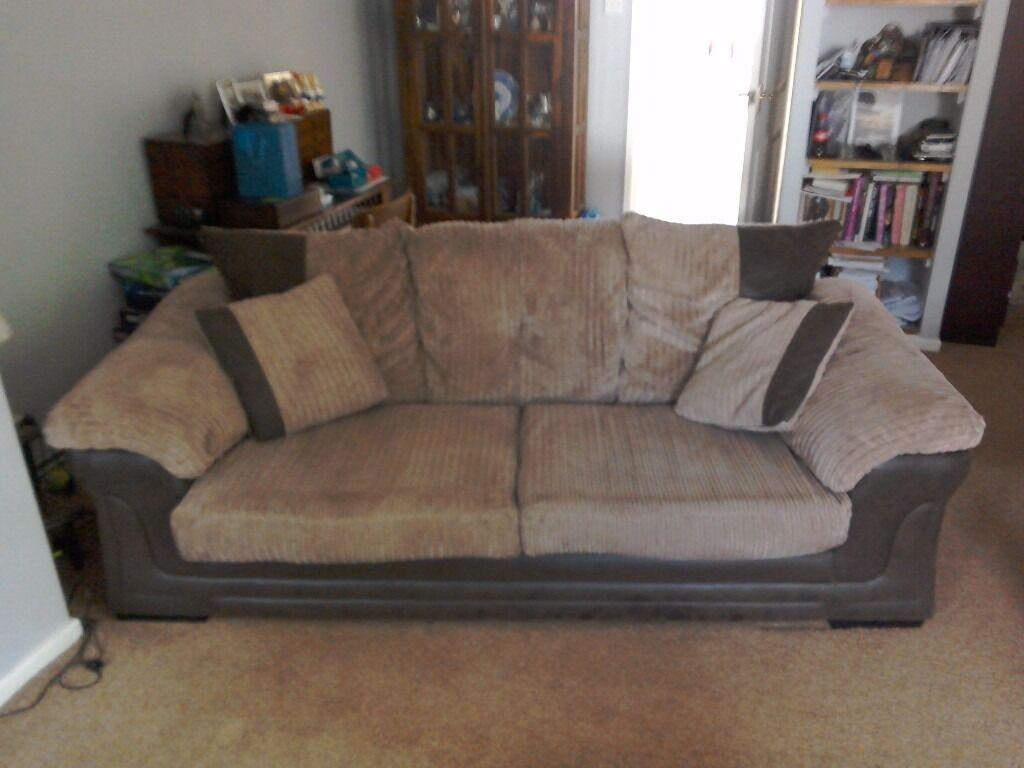 3 piece (dfs) suite. includes 3 person sofa,deep comfy arm chair