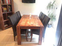 Solid Oak Kitchen Table with 6 Leather Chairs