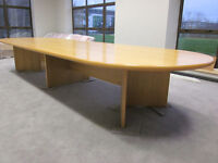 Boardroom table, solid oak wood effect, 4m long, very good condition