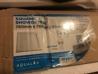 Brand New Aqualux Aqua 55 Square Shower Tray 760mm x 760mm White