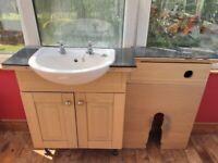 Bathroom vanity unit + basin and WC unit