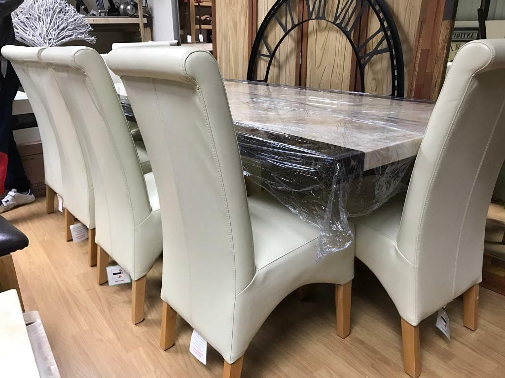 Beautiful Large 220cm Marble Dining Table And 8 Chairs