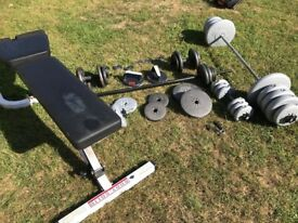 Weights bench. 2 x bars. Dumbells & weights set