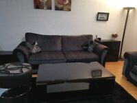 4 seater dfs charcole black sofa + free matching footstool