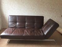 Ligne Roset Smala sofa-bed, original Pascal Mourgue design in dark brown leather