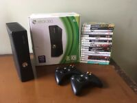 XBox 360 (4GB) with 2 controllers and 17 games