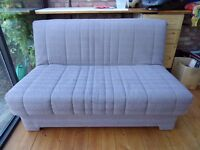 Grey sofa-bed, futon style, metal frame, good condition