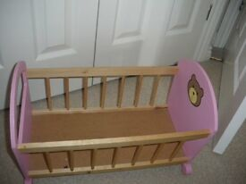 Tiny Tears Pink Wooden Rocking Crib