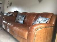 "Dfs sofa 3""2and pouffe soft tan leather"