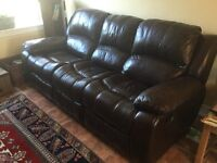 Leather Double Recliner Sofa, Excellent Condition,