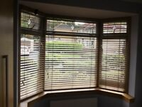 Set of 3 wooden window blinds. Suitable for bay window.