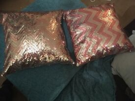 Cushions- sequinned pink and silver