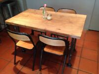 2x - 4 seater Industrial tables with gas pipe legs
