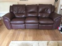 3 seater brown leather sofa with reclining seats