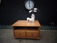 LARGE IKEA PINE TV STAND/ COFFEE TABLE MULTI FUNCTIONS WITH DRAWERS AND SHELVES