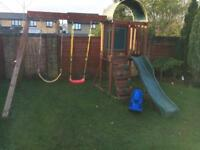 Swing and slide climbing frame