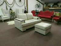 Italian 2 Seater Cream Leather Sofa & Footstool