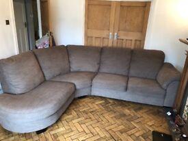 Light brown right handed corner sofa
