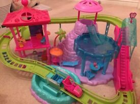 Polly Pocket Dolls bundle - dolls, cruise ship ,rollercoaster and house