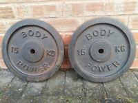 BODY POWER CAST IRON 15KG X 2 WEIGHT PLATES