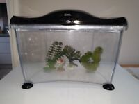 Fish tank, Plastic, National Geographic with ornaments and plastic plants