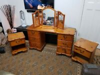 Complete set of Solid Pine Dressing Table with mirror and matching 2 x side table