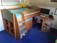 STOMPA MID HEIGHT CHILDS BED DESK & SLEEPOVER BED