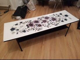 Retro coffee table, white with flower pattern.