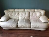 3 seater sofa white real leather