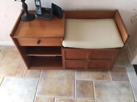Teak veneer telephone desk, Nathan furniture