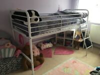 Next - White metal cabin bed frame and mattress