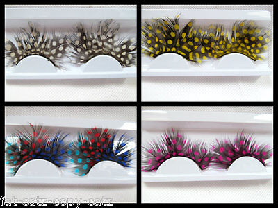 ONE PAIR SPOTTED FEATHER DRAMATIC FANCY DRESS FALSE FAKE EYE LASHES 5 COLOURS UK - Feather Fake Eyelashes