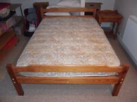 Pine double bed plus mattress