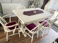 Shabby chic white 6 seater dining table and chairs