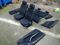 BMW 3 series interior Seats and door cards E46 2 door coupe Breaking good cond black navy cloth