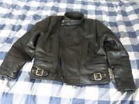 sportex black leather motor cycle jacket size 44.