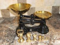 Vintage Librasco cast iron kitchen scales. With full set of brass weights.
