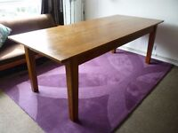 Solid oak dining table, seats 8