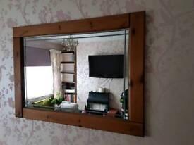 Large Antique Pine Mirror