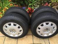 Volkswagen VW Golf 5 Stud Steel Wheels, Tyres 175/80/R14, & Trims