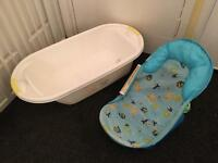 MOTHERCARE baby bath and bath seat