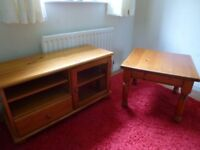 Good quality Pine media cabinet and coffee table