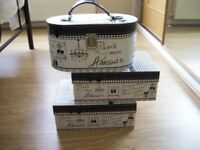 3 BOXES PARIS JEWELLERY BOX AND 2 MATCHING DISPLAY BOXES SHABBY CHIC STYLE