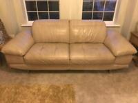 4 seater cream leather sofa x 2